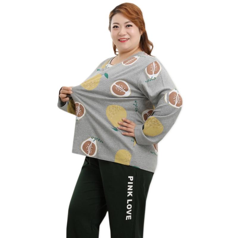 Nouveau grande taille 5XL mignon pyjamas ensembles femmes vêtements de nuit hiver confortable mode 100% coton pyjamas femmes grande taille 4xl 130KG