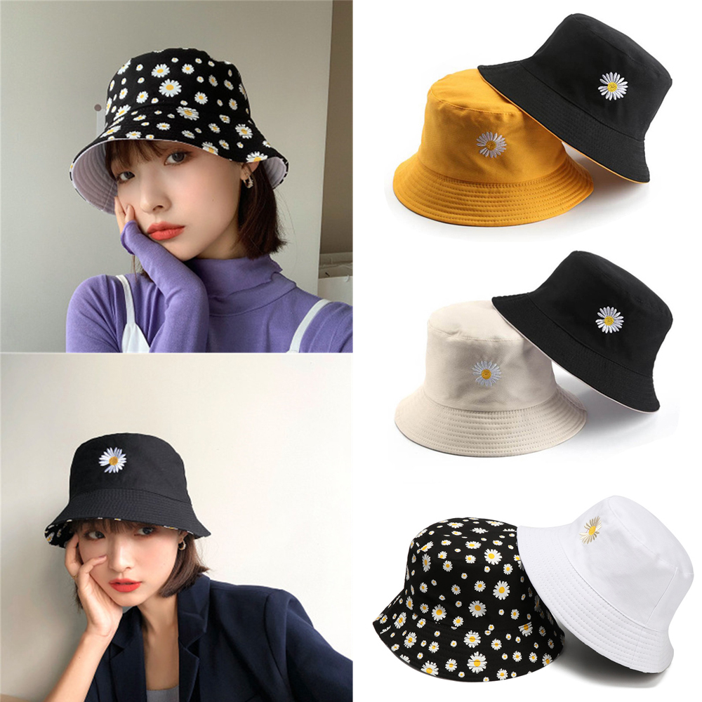 Sunscreen Daisies Fisherman Cap Double-Sided Bucket Hat Sun Hat Foldable