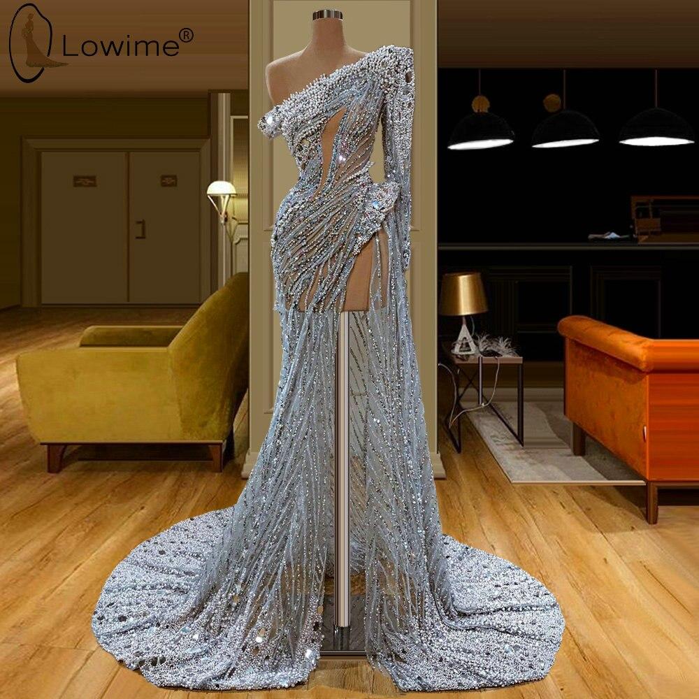 One Shoulder Illusion Luxury Heavy Beading Mermaid Evening Dresses Kleid Jurken Robes Prom Party Gowns Vestido De Festa