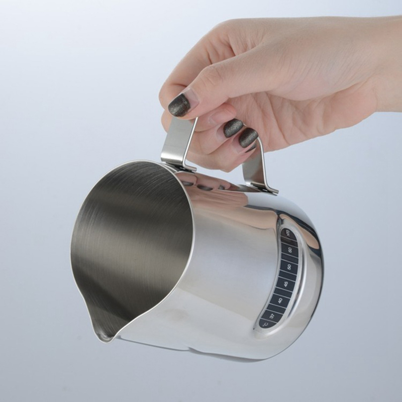 Stainless Steel Frothing Pitcher Cup Espresso Steaming Pitcher 12 Oz Coffee Milk Creamer Frothing Cup With Thermometer
