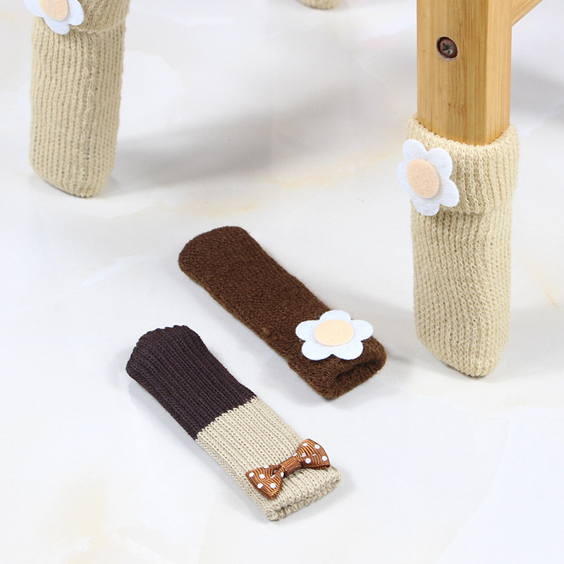 4pcs/lot Double Knit Anti Slip Mat Bumper Damper Cute Flower Furniture Leg Feet Rug Caps Pads Chair Leg Socks Table Protector