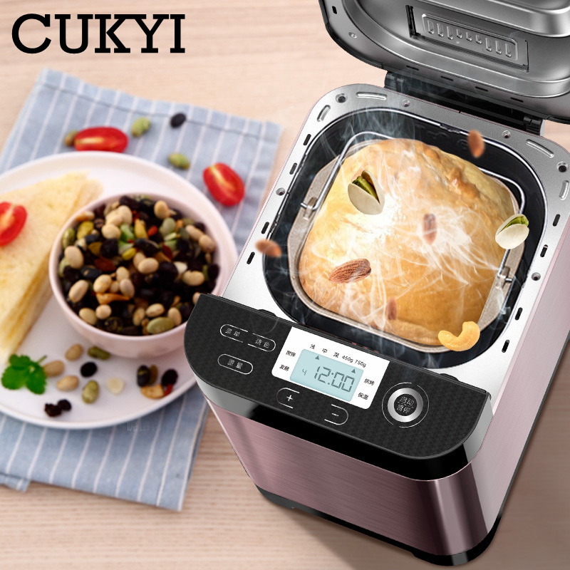 CUKYI Automatic Fruit Sprinkled Bread Maker Multifunction Bakery Machine Kitchen Household Appliance Kneading Dough Fermentation