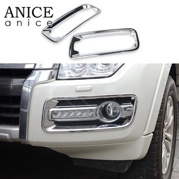 2pc Chrome Front Head Fog Light Lamp Cover Trim Fit For Mitsubishi Pajero 2015 2016 2017 2018 2019