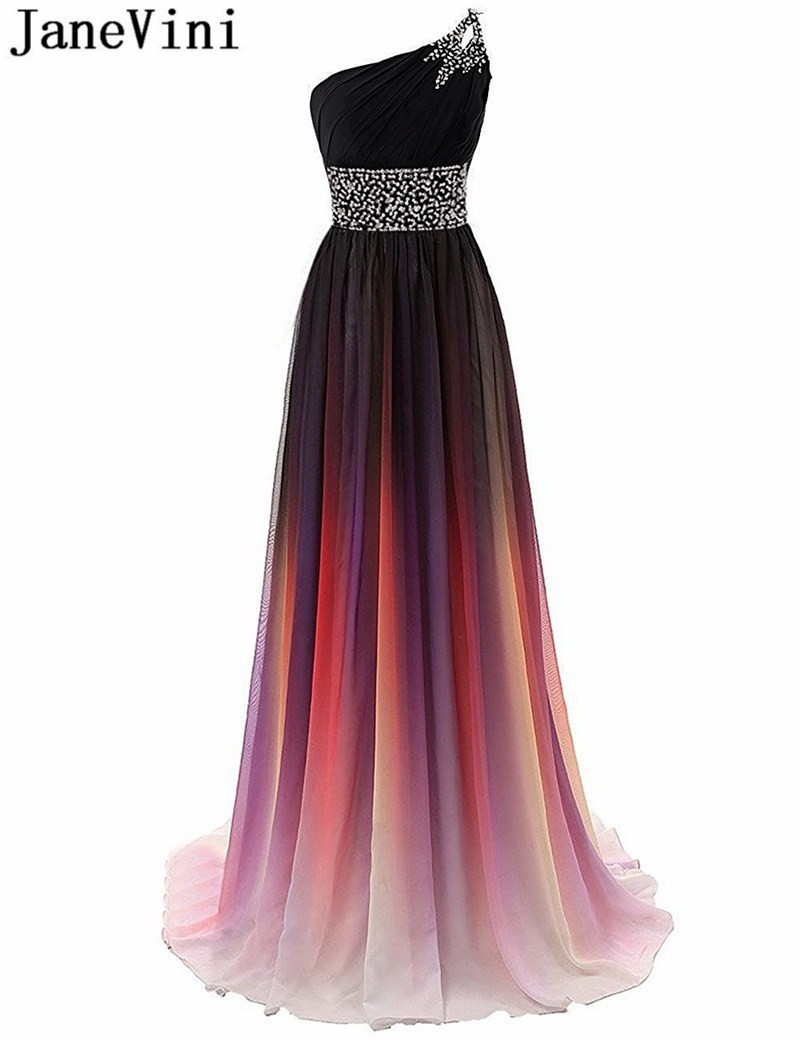 JaneVini Rainbow Shadow Gradient Prom Dresses Long Ombre Beaded Women Party Dress Evening Gowns robe grande taille femme 2020