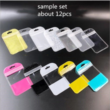 12pcs/set 7*11cm  Sample Mini Zip Lock Bag Plastic Zipper Bag For Jewelry Packaging Small Item Storage Pouch