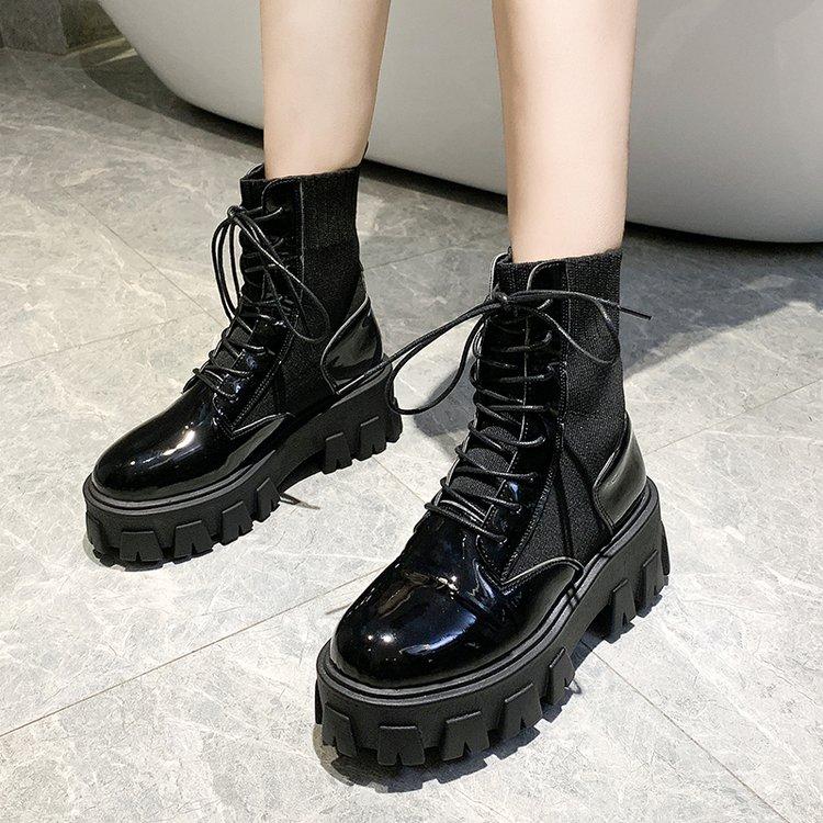 Patent Leather Black High Platform Boots Women Fashion Martin Boots Women 2020 Non slip Wear resistant Sole Ankle Boots Ladies