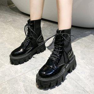 Patent Leather Black High Platform Boots Women Fashion Martin Boots Women 2020 Non-slip Wear-resistant Sole Ankle Boots Ladies