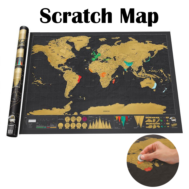 Portable Deluxe Black Travel Scratch Off Map World Map Best Decor School Office Room Home Decoration Wall Stickers