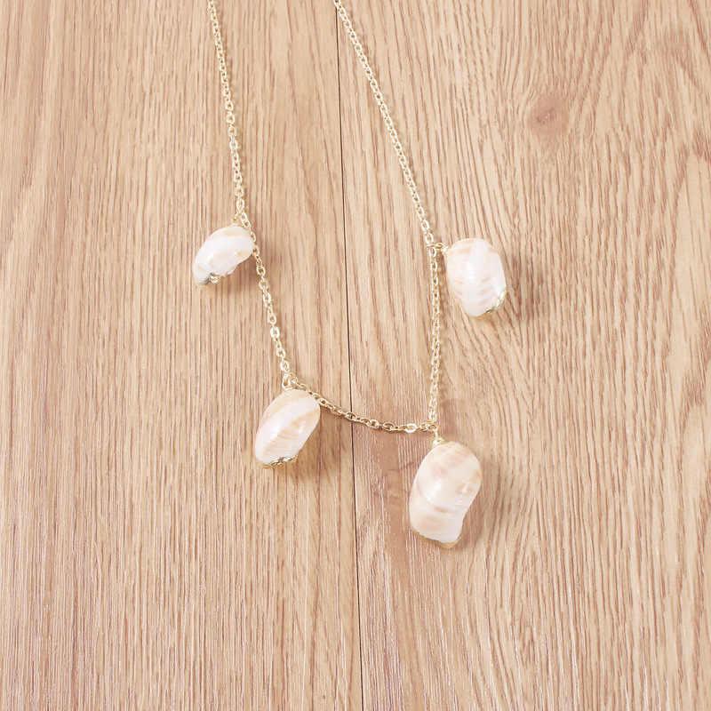 Bohemian ผู้หญิงยาว cowries shell จี้สร้อยคอเปลือกหอย Collana di conchiglie Collier de coquillages คอ de concha