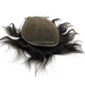 Image 3 - Супер тонкий 100% remy человеческие волосы дышащий полный швейцарский кружевной парик для лысых мужчин