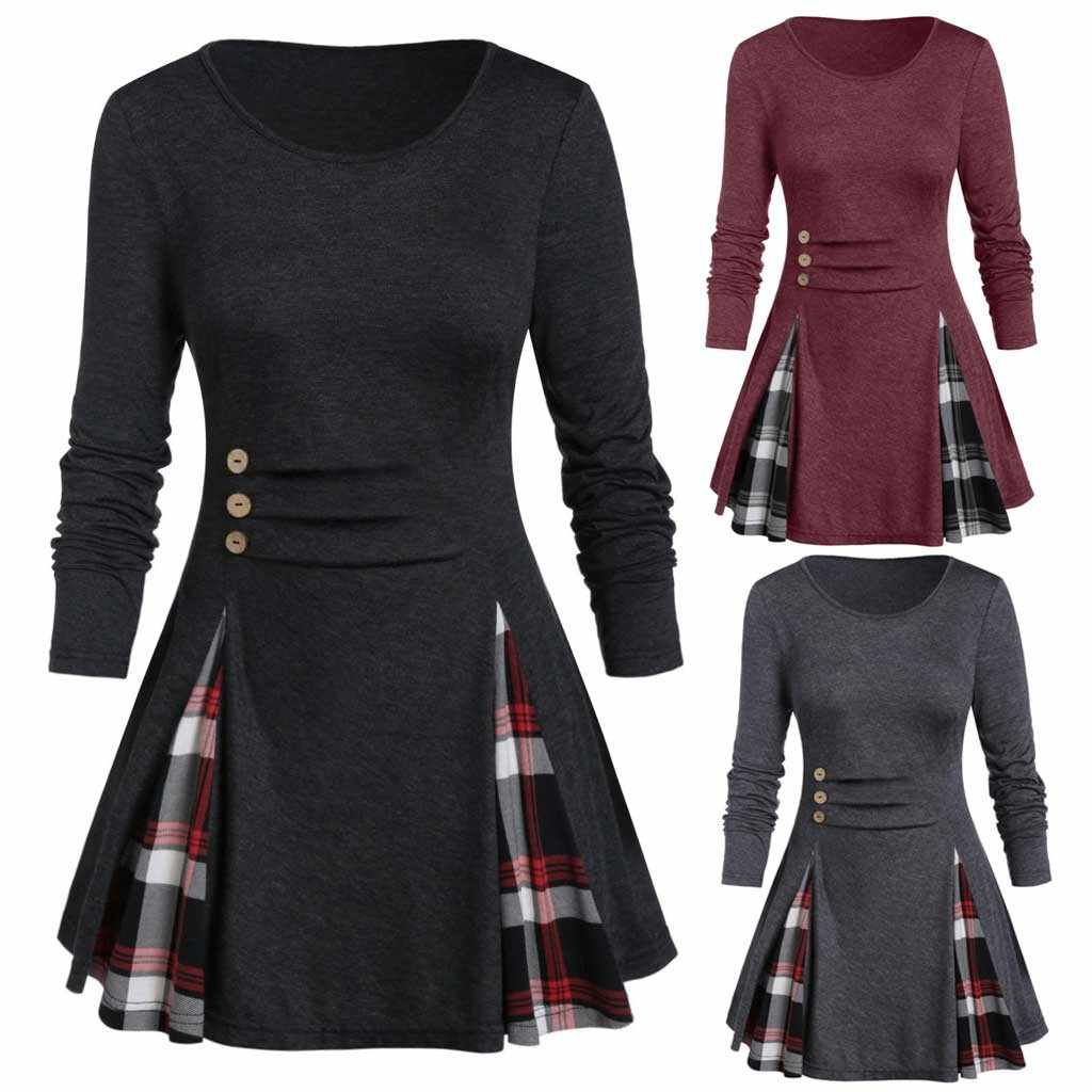 christmas dress autumn dress women Plus Size Tops Tunic Tee Buttoned Plaid Print Long Sleeve T Shirt ropa mujer vestidos