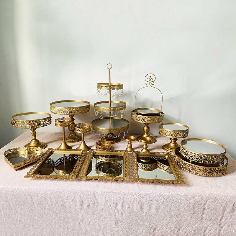 3-18 pçs ouro branco espelho grande padeiro bolo carrinho conjunto bolo de casamento ferramentas fondant bolo kit de exibição para festa