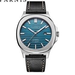 Parnis mechaniczne męskie zegarki automatyczne męskie zegarki zegar Top marka luksusowy zegarek dla nurka szafirowe Relogio Masculino