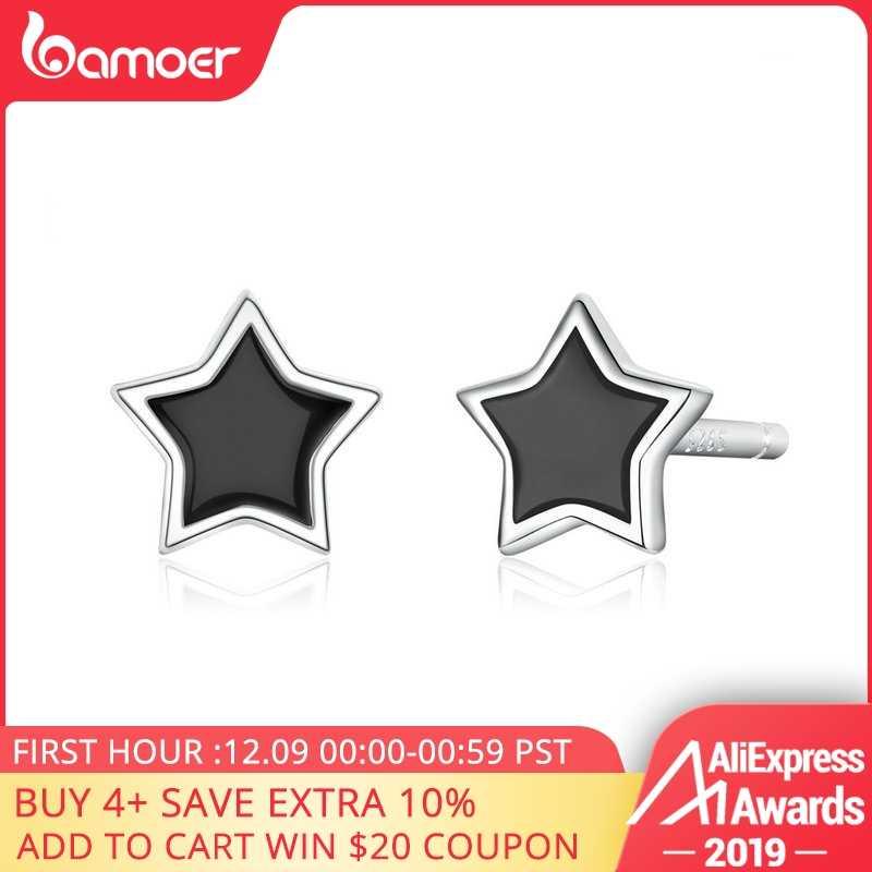 Bamoer, серебро 925, ювелирные изделия, простые, минималистичные, звезда, серьги-гвоздики для девушек, не вызывает аллергии, эмаль, ювелирные изделия, аксессуары, подарки, BSE275