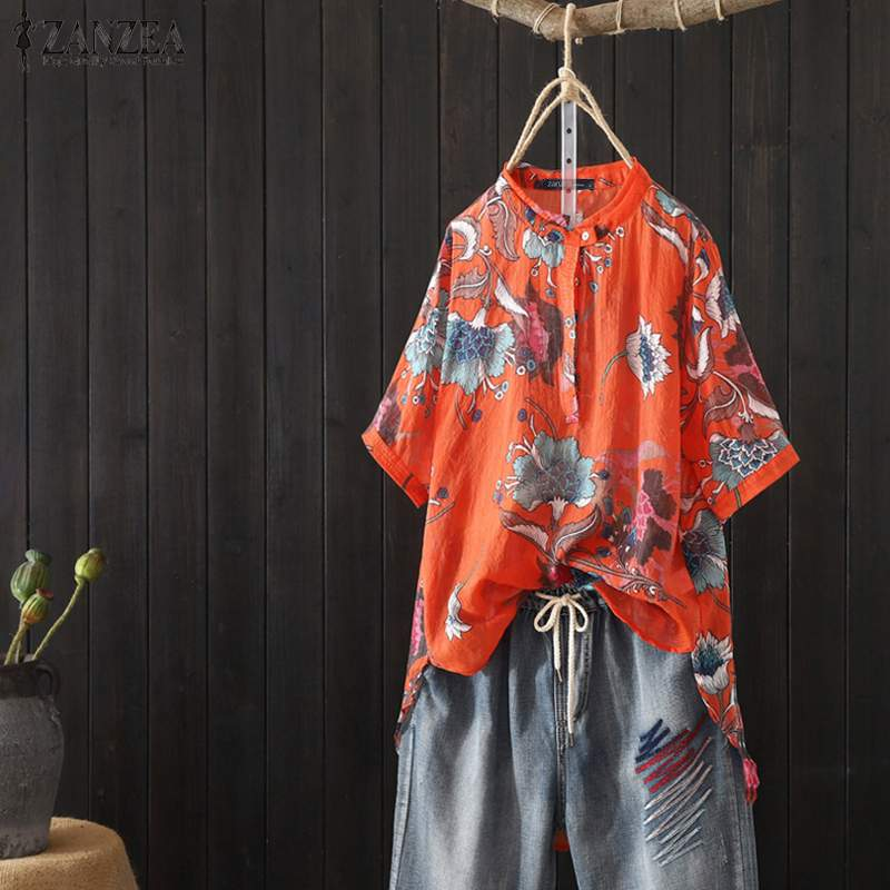 ZANZEA Women's Shirt 2019 Vintage Floral Print Tops Blouses Casual Buttons Half Sleeve Blusas Ladies Tunic Tops Plus Size 5XL