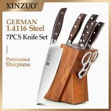 XINZUO 7 Uds Juego de Cuchillos de Cocina forjado alemán 1,4116 Acero inoxidable cocina afilada Chef Santoku cuchillo de pelar juegos de herramientas para el hogar