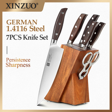 XINZUO 7PCs Kitchen Knife Set Forged German 1.4116 Stainless Steel Kitchen Sharp Chef Santoku Paring Knife Sets Household Tools