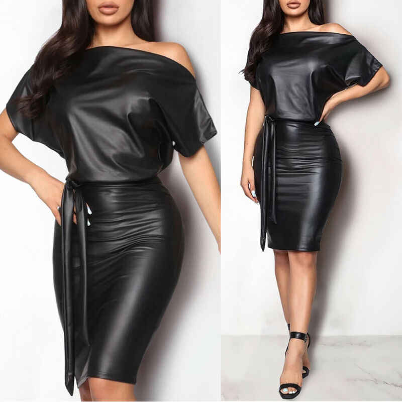 Nieuwe Vrouwen Wetlook Riem PU Leer Wetlook Bodycon Bandage Skinny Party Cocktail Club Off Shoulder Lange Mouwen Mini jurk