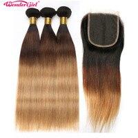 Омбре пучки с закрытием 1B/4/27 1B/27 бразильские прямые пучки волос с закрытием человеческие волосы 3 пучка с закрытием не Remy