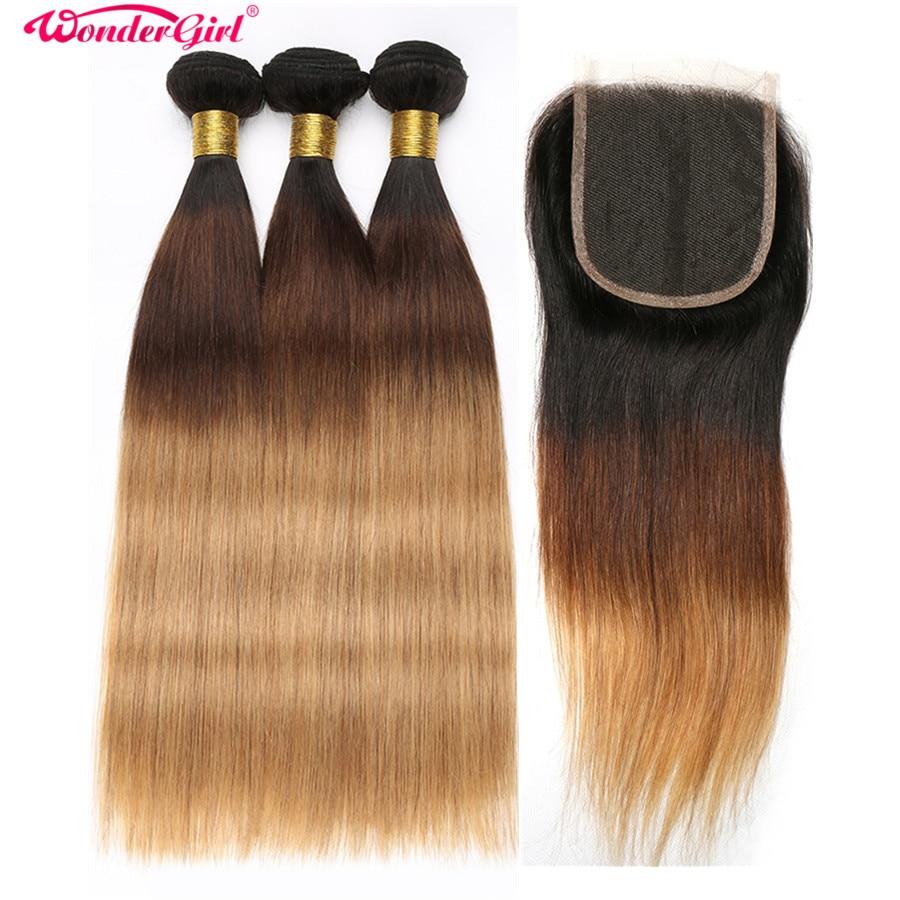 Ombre Bundles With Closure 1B/4/27 1B/27 Brazilian Straight Hair Bundles With Closure Human Hair 3 Bundles With Closure Non Remy