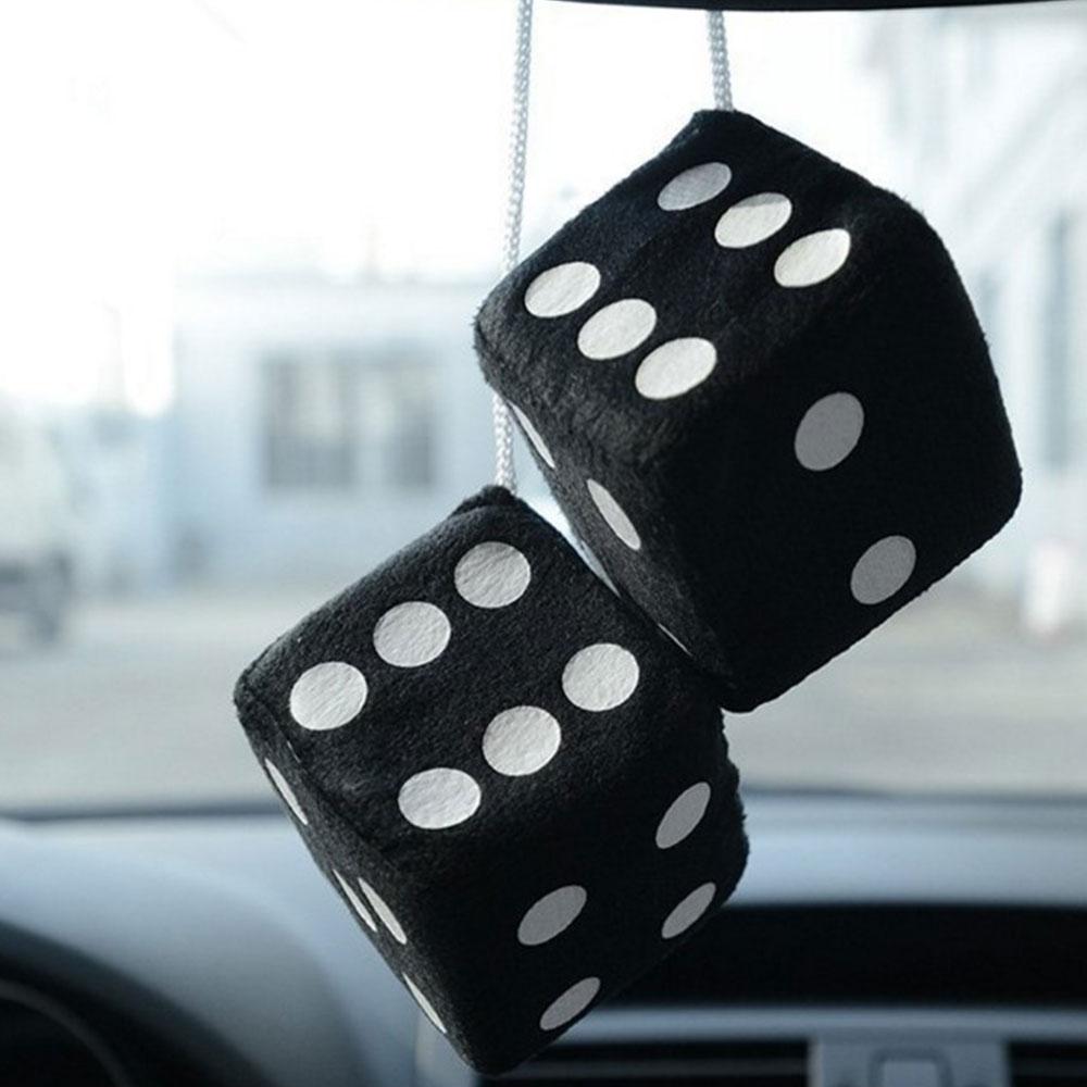 1 пара 7 см пушистые кости точки зеркало заднего вида вешалки украшение интерьера автомобиля Стайлинг авто аксессуары внутренняя кость-подвеска