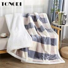 Tongdi quente macio xadrez cashmere raschel cobertor engrossar elegante velo decoração de dupla camada para capa sofá cama colcha inverno