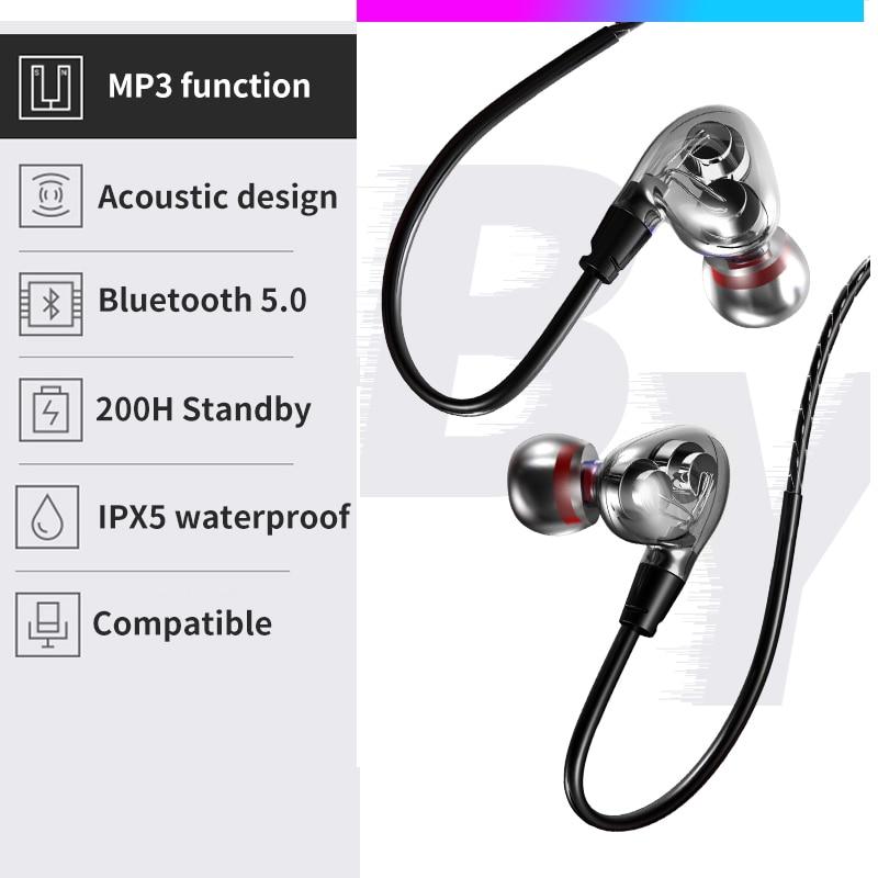 Image 4 - Dual Dynamic Driver Wireless Earphone In ear Sport Headphone Big Volume Waterproof Bluetooth Headset Support TF Card With MicBluetooth Earphones & Headphones   -