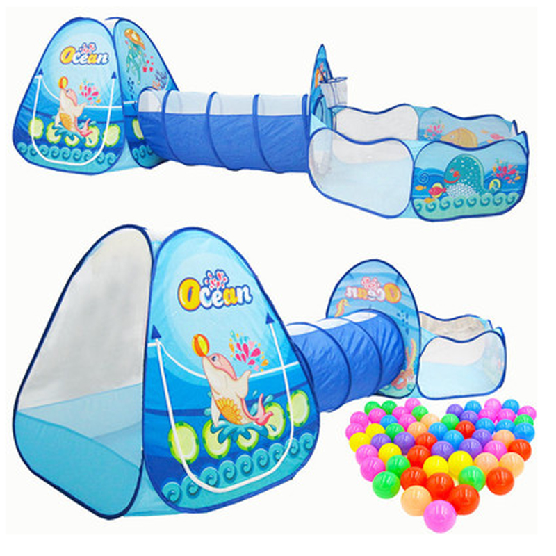 3 In 1 Ocean Children's Tent House Toy Ball Pool Portable Children Tipi Tents With Crawling Tunnel Pool Ball Pit House Kids Tent