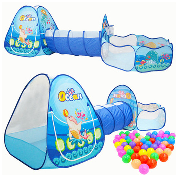 3 in 1 Portable Children's Tent Toy Ball Pool Ocean Children Tipi Tents Crawling Tunnel Pool Ball Pit Baby Tents House Kids Tent 1
