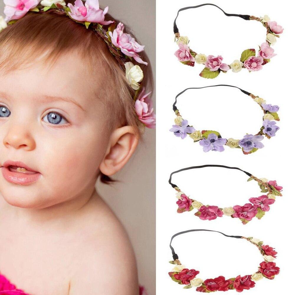 Детский венок для волос с цветами, гирлянда, Детская корона, Свадебная вечеринка, пляжный красивый ободок для волос, повязка на голову, рекви...