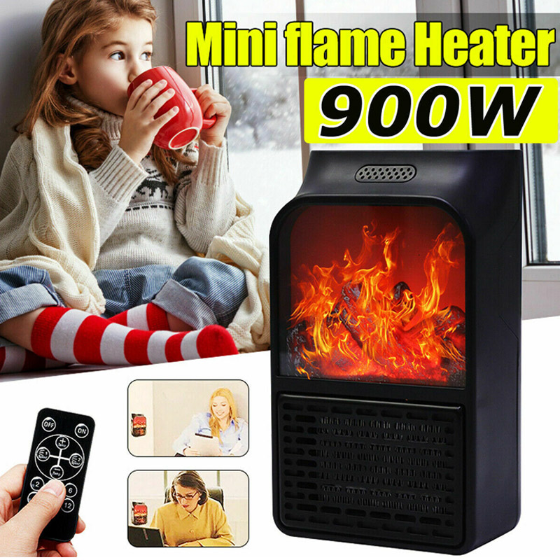900W Wall Mount Electric Fireplace Heater Flame Air Warmer With Remote Control DC156