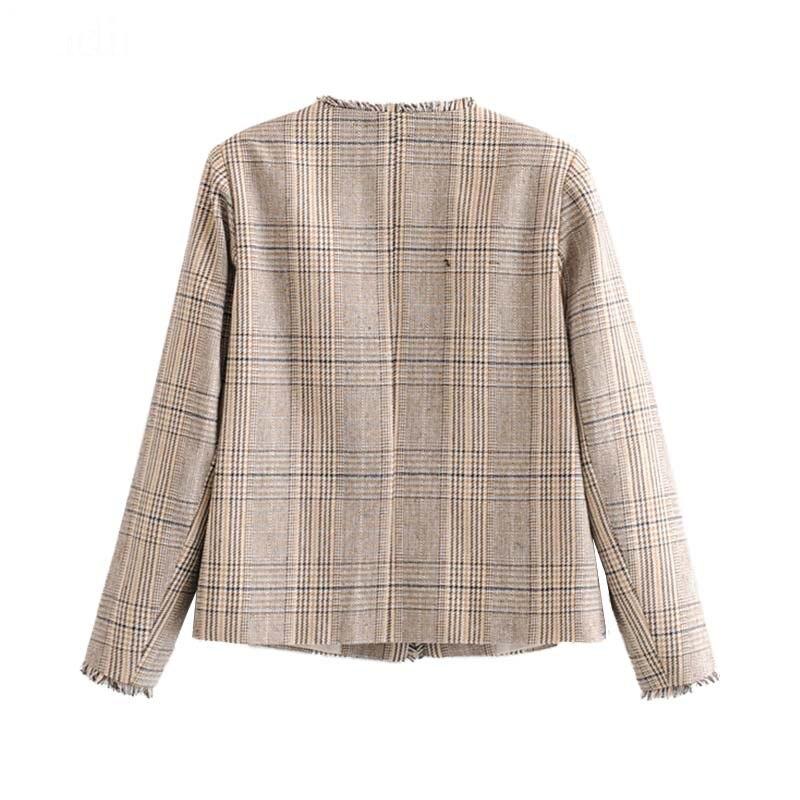 Tweed Jacket Women 2019 Fall Houndstooth Tassel Patchwork Short Jackets Chic Long Sleeve Women Blazer Elegant Pockets Lady Coats