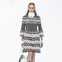 Fashion brand Women autumn Winter Long Sweater Dress Female butterfly Sleeve Knitted dresses round collar Elegant Party Dresses