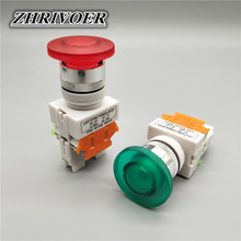 цена на 22mm LAY37-11MD Mushroom Head Light Push Button Switch Self-reset 10A/660V Red Green