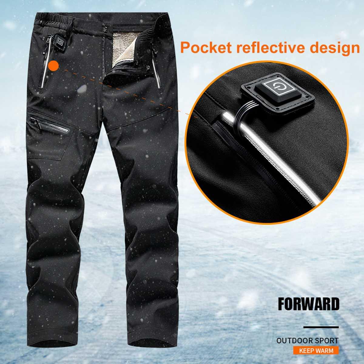 Pantalones deportivos con calefacción eléctrica y USB para hombre y mujer, pantalón de terciopelo cálido hasta la rodilla, para acampar y esquiar, para invierno