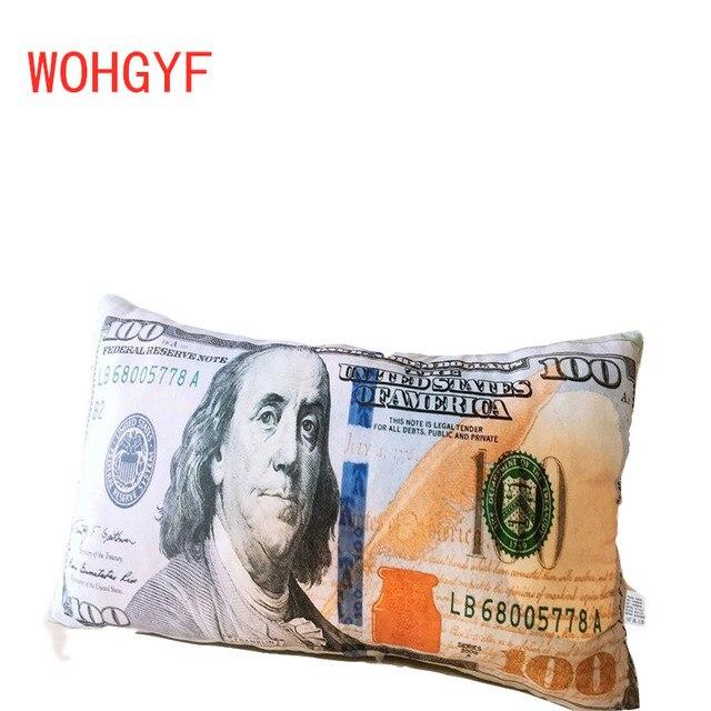 60cm Funny Creative banknotes Plush Pillow Stuffed Cushion Simulation Pound Dollar USD EUR Money Cushion for Sofa Bed Pillow