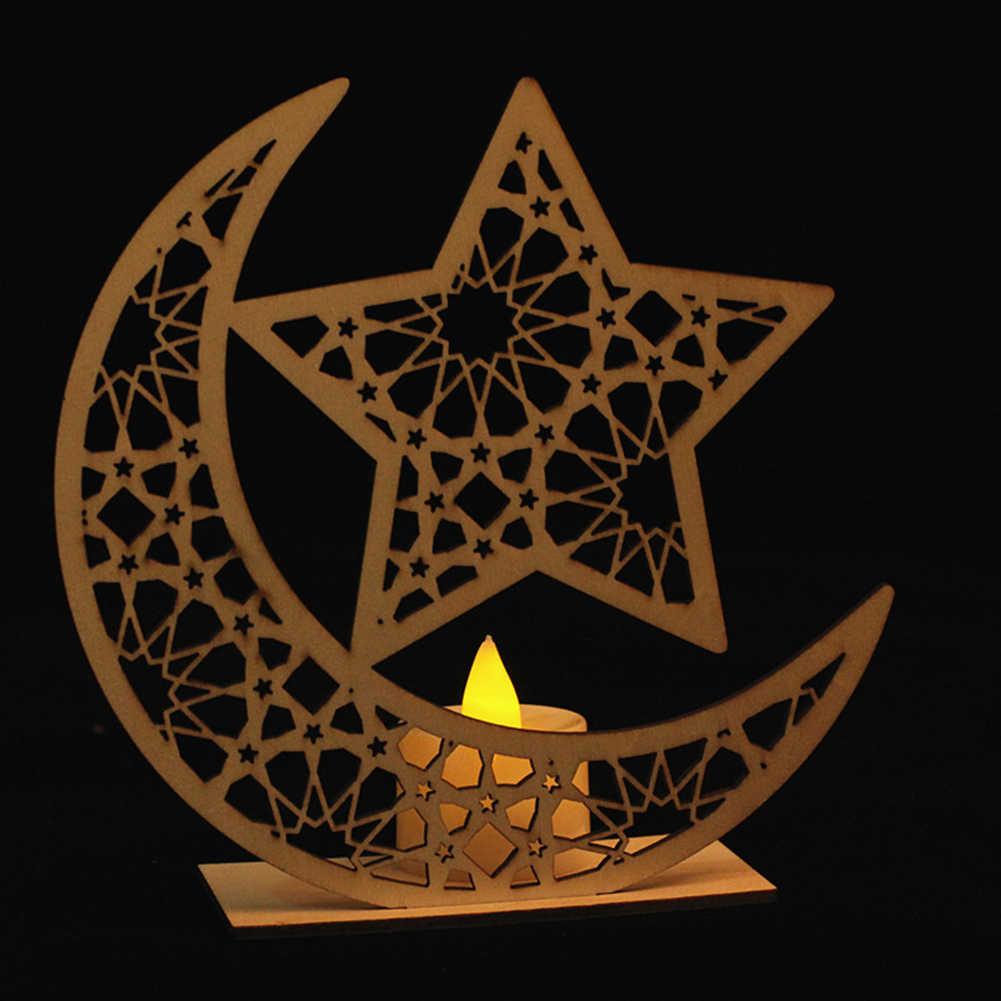 Деревянное ремесло светодиодный свечи подарки вечерние декор стол фестиваль для мусульманского праздника Рамадан дома Eid Mubarak Звезда Луна DIY украшения свет