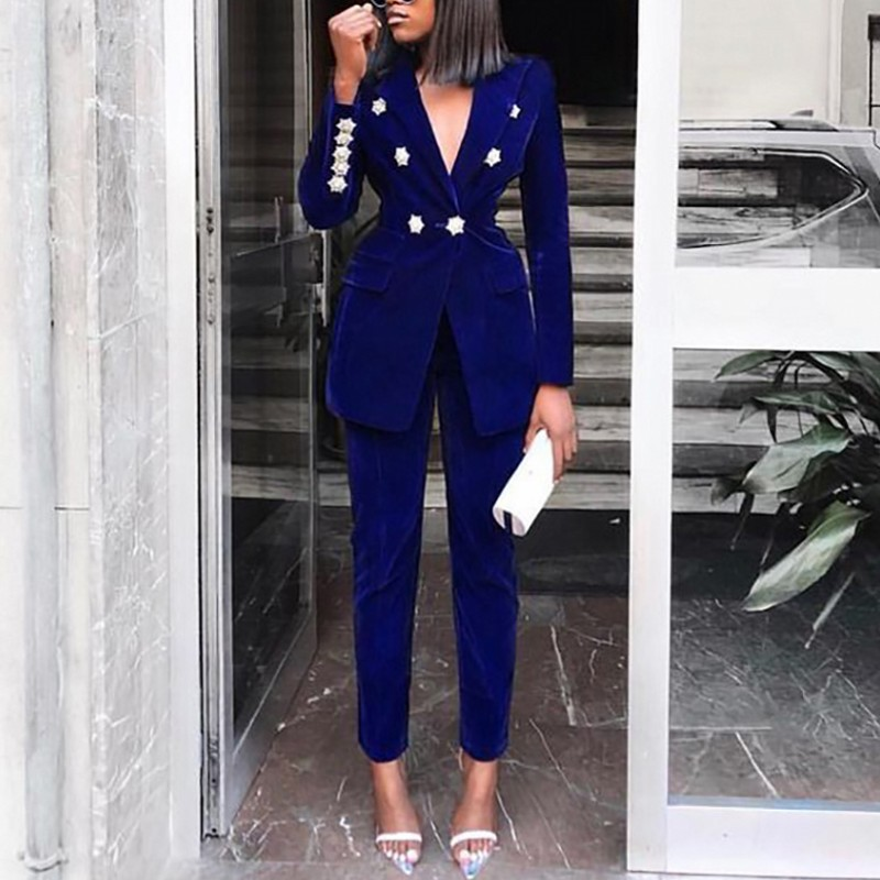 Spring Sets For Women Africa Clothing 2020 New Navy Blue V Neck Long Sleeve Sexy 2 Piece Set African Outfits Two Piece Set Suit