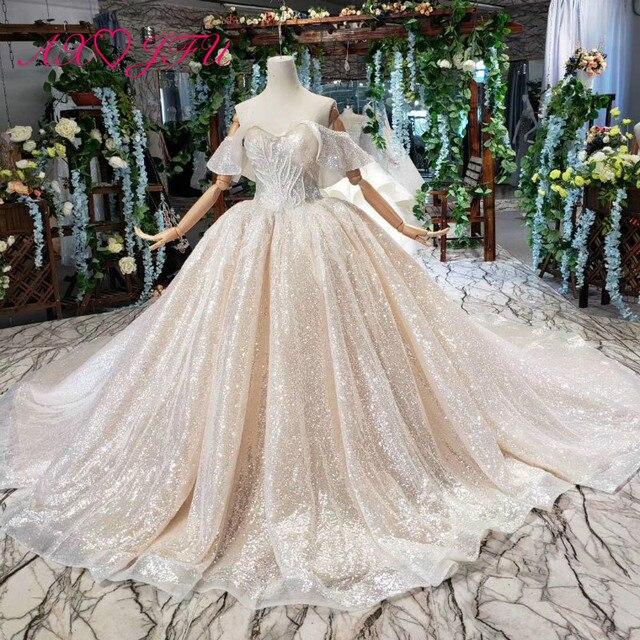 AXJFU Luxury princess champagne lace ruffles boat neck beading crystal star sparkly dubai wedding dress 100% real photo1499/1000