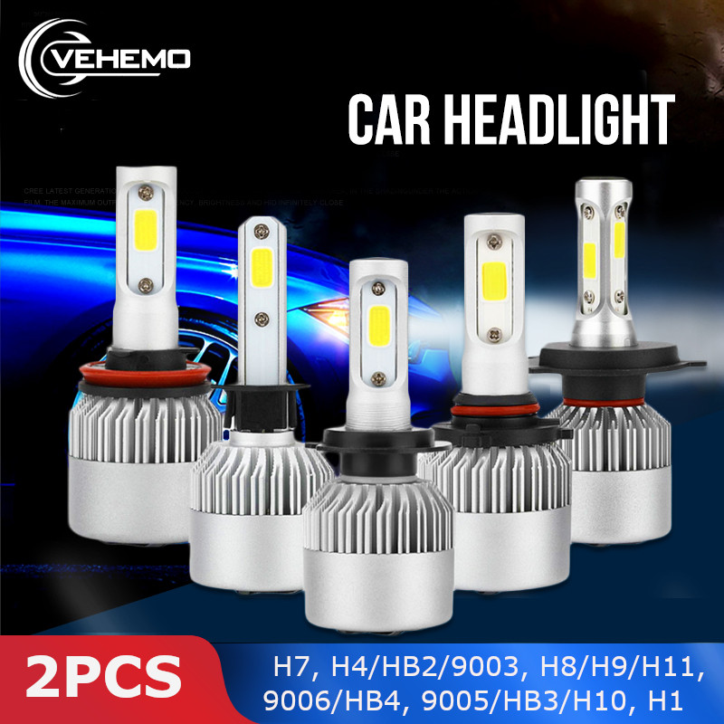 Vehemo 2PCS COB H1 36W LED Headlight LED Bulbs Car Styling Super Bright Front Lamp Headlight Fog Light Universal H7 High Power