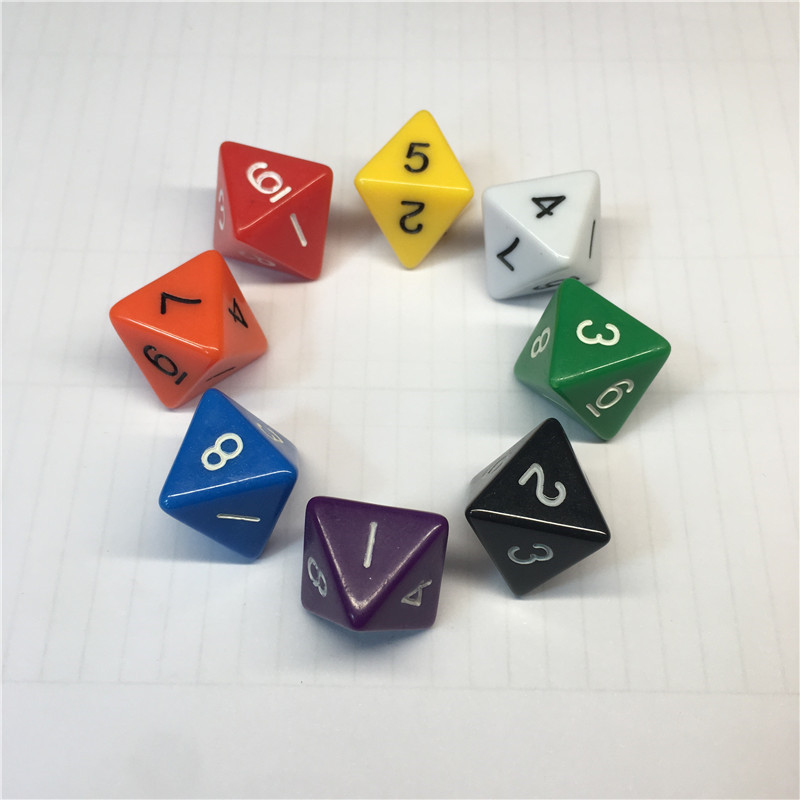 8Pieces 8-sides D8 Digital Dice 8 Sides With Number 1 2 3 4 5 6 7 8 For Funny RPG Table Board Gambling Games Dices