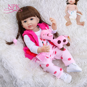 NPK 55CM Girl gift full body silicone reborn toddler girl doll lifelike real soft touch bath toy Anatomically Correct