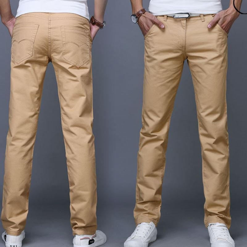 Men Khaki JEANS Casual Straight Pants Fashion