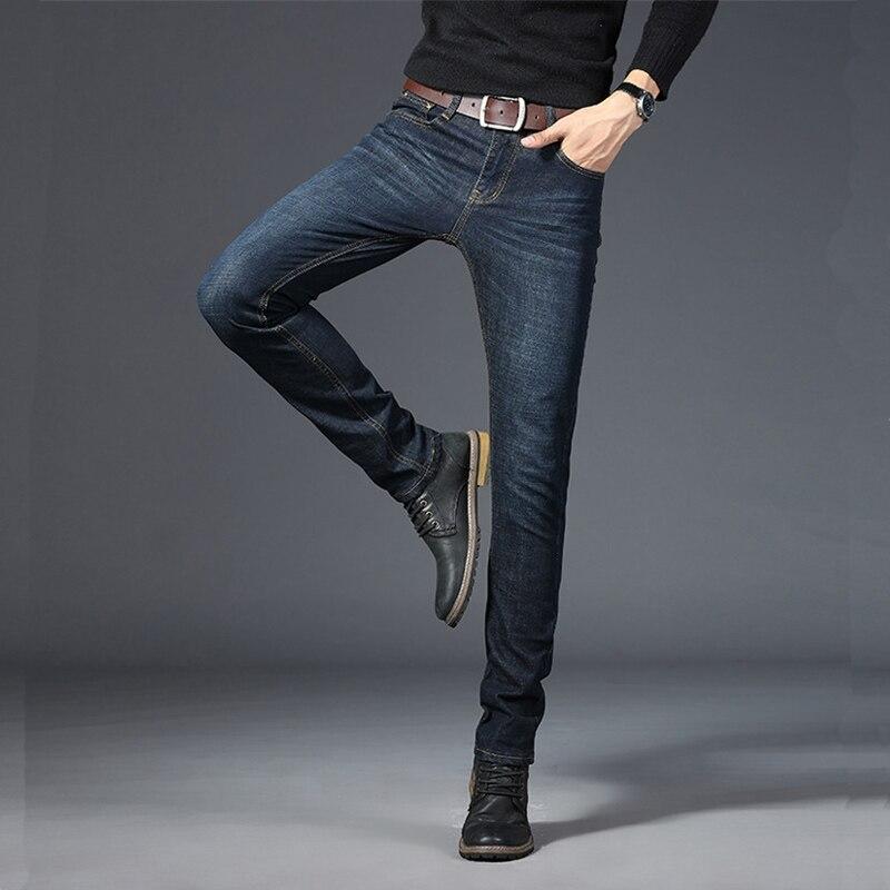 BINHIIRO Autumn Men's Jeans Solid Color Micro-elastic Classic Jeans Men Straight Slim Fashion Denim Trousers Male 2019 New K009