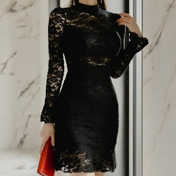 Cross border 2020 new Korean slim temperament Ruffle perspective sexy back leakage lace bottomed sexy dress