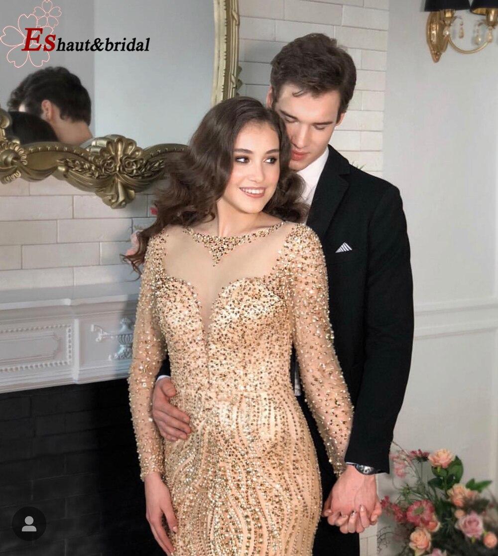 2019 Gold/Silver Handmade Mermaid Beading   Evening     Dress   O Neck Long Sleeves Prom Wedding   Dress
