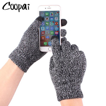 Men's Knitted Gloves Winter Autumn Male Touch Screen High Quality Plus Thin Velvet Solid Warm Mittens Business - discount item  20% OFF Gloves & Mittens