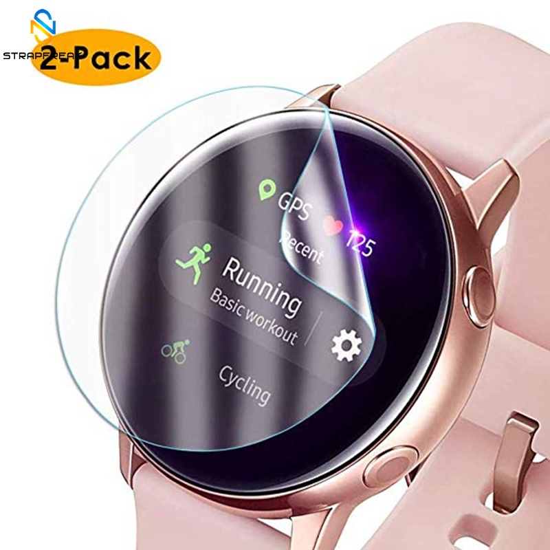 2pcs Protective Film For Samsung Galaxy Watch Active Soft Ultra-thin 3D Round Edge Screen Protector Cover Band + Cleaning Kits