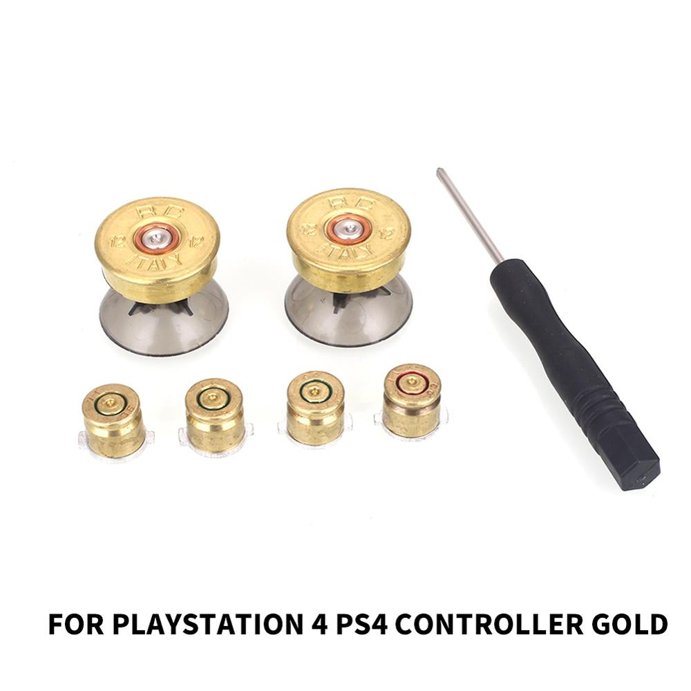 For Playstation 4 Palyer Video Game Buttons Joystick 4 Metal Buttons + 2 Thumbstick Bullet Buttons with Screwdriver for Sony PS4 image
