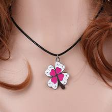 Enamel Red Clover Charms Vintage Silver Choker Collar Statement Necklace Pendant DIY Jewelry Women Clothing Accessories HOT A19(China)